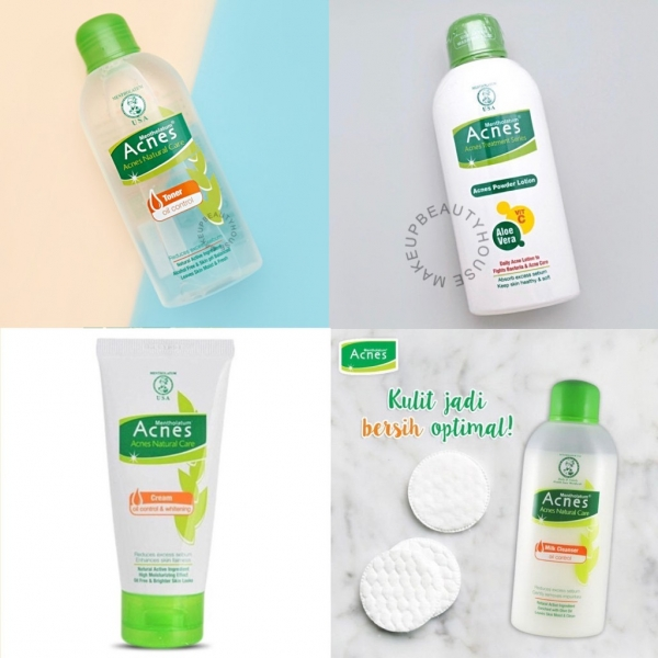 ACNES Oil Control Toner 110ml / Milk Cleanser / Powder Lotion 100ml / Whitening Cream 40gr