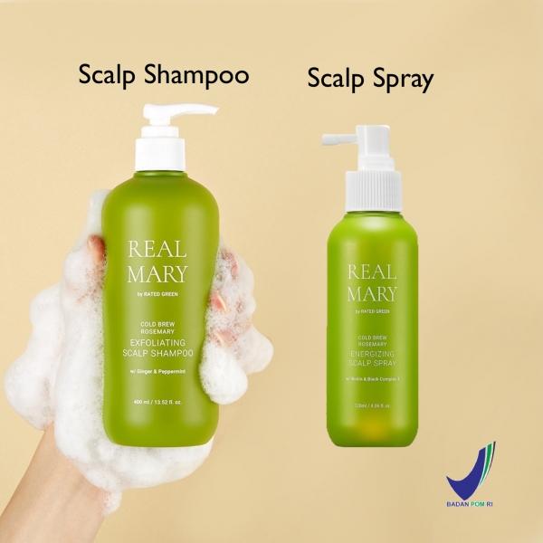Real Mary Energizing Scalp Spray 120ml / Exfoliating Scalp Shampoo 400ml - Untuk Rambut Berminyak dan Lepek